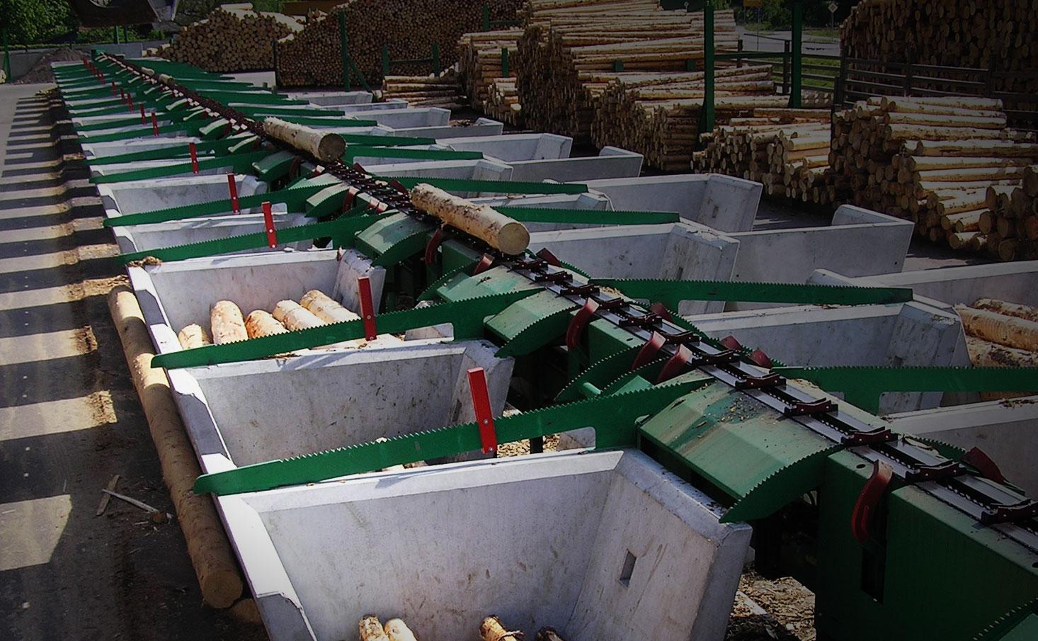 Sägezubringeranlage zur Holzverarbeitung